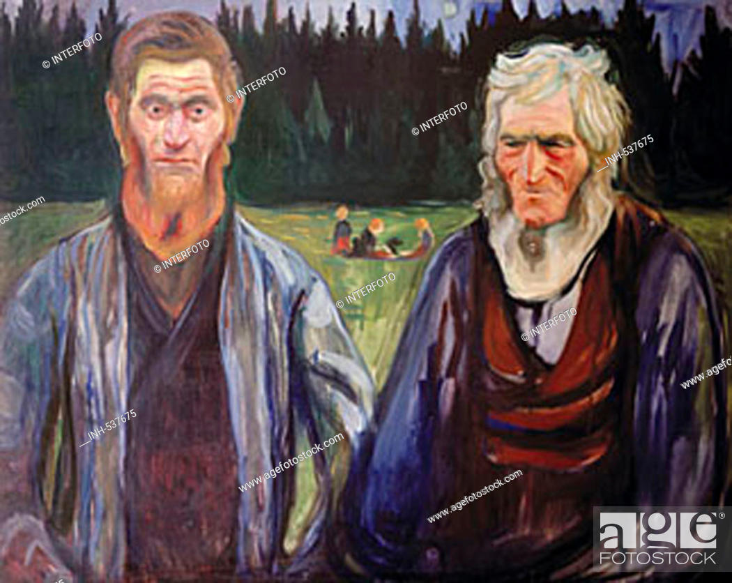Stock Photo: fine arts, Munch, Edvard, (1863 - 1944), painting, 'two men in half length', circa 1905, oil on canvas, private collection, Oslo, historic, historical, Europe.
