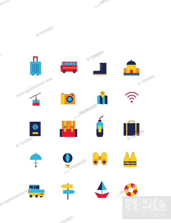 Stock Photo: Set of various icons related to travel.