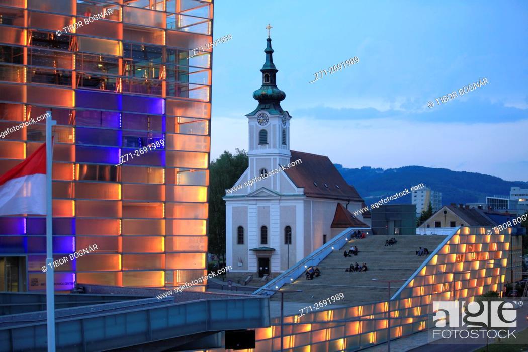 Stock Photo: Austria, Upper Austria, Linz, Ars Electronica Center,.