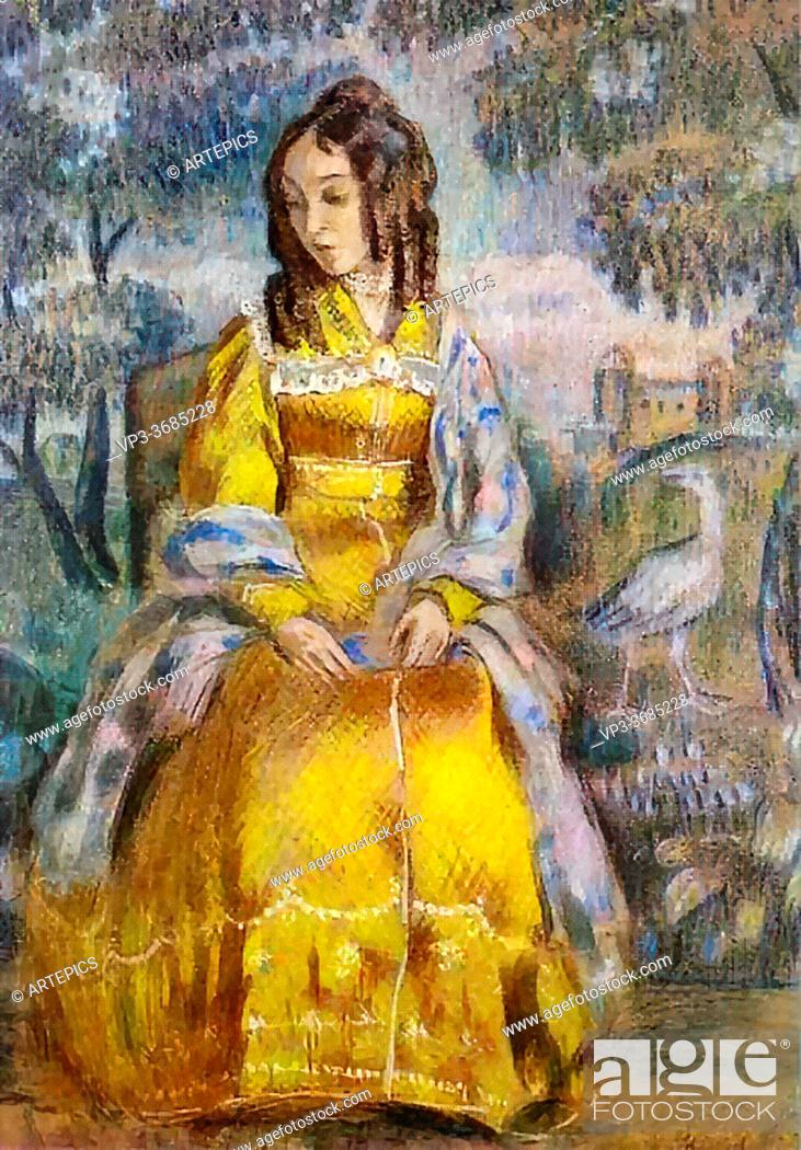 Stock Photo: Borisov-Musatov Victor - Lady Seated with a Tapestry in the Background - Russian School - 19th Century.