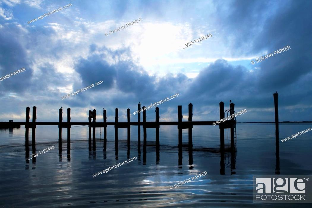 Stock Photo: A dock on the Floriday Bay in the Keys at sunset.