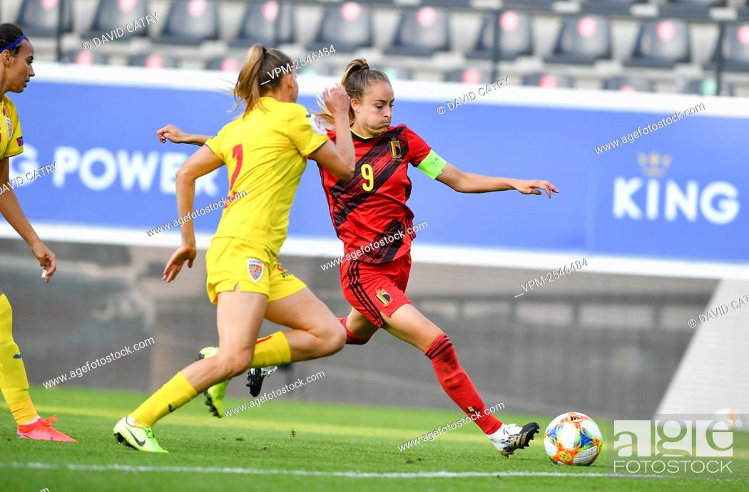 Stock Photo: Belgium's Tessa Wullaert pictured in action during a soccer game between Belgium's Red Flames and Romania, Friday 18 September 2020 in Heverlee.