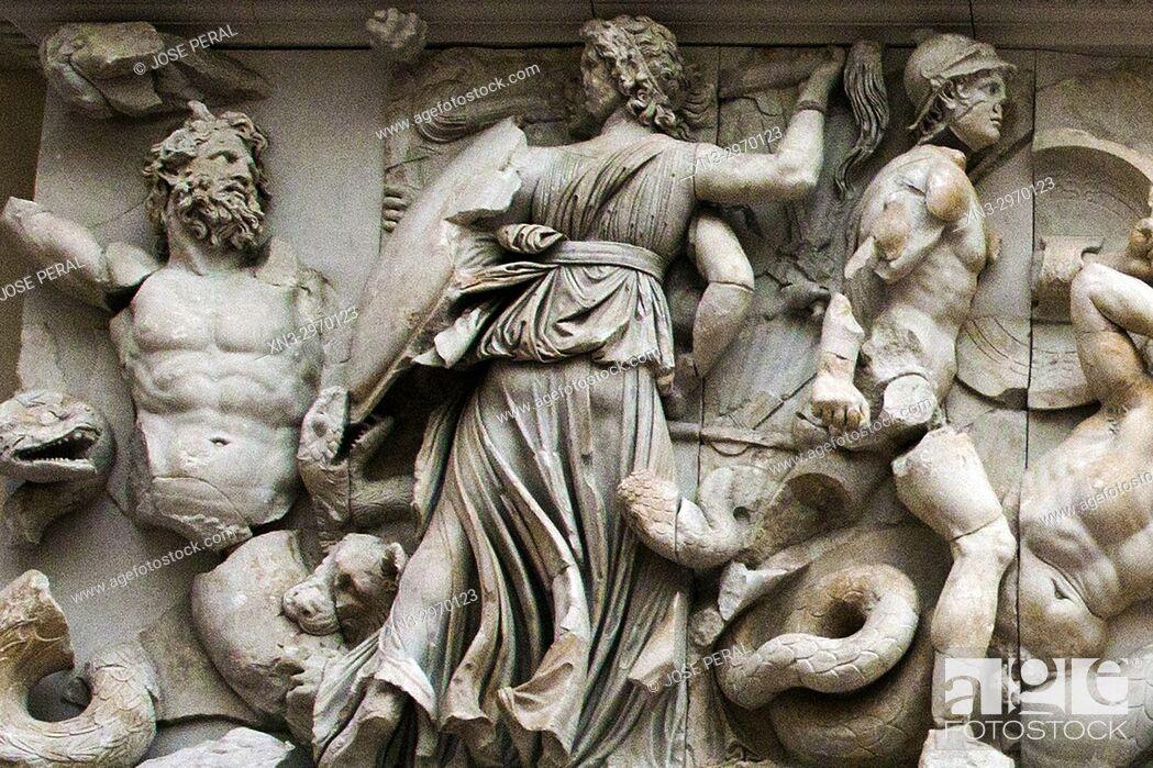 Stock Photo: East frieze, Hecate fights against Klytios (left) and Artemis against Otos (right), Greek mythology, Pergamon Altar, Pergamon Museum, Museum Island, Berlin.