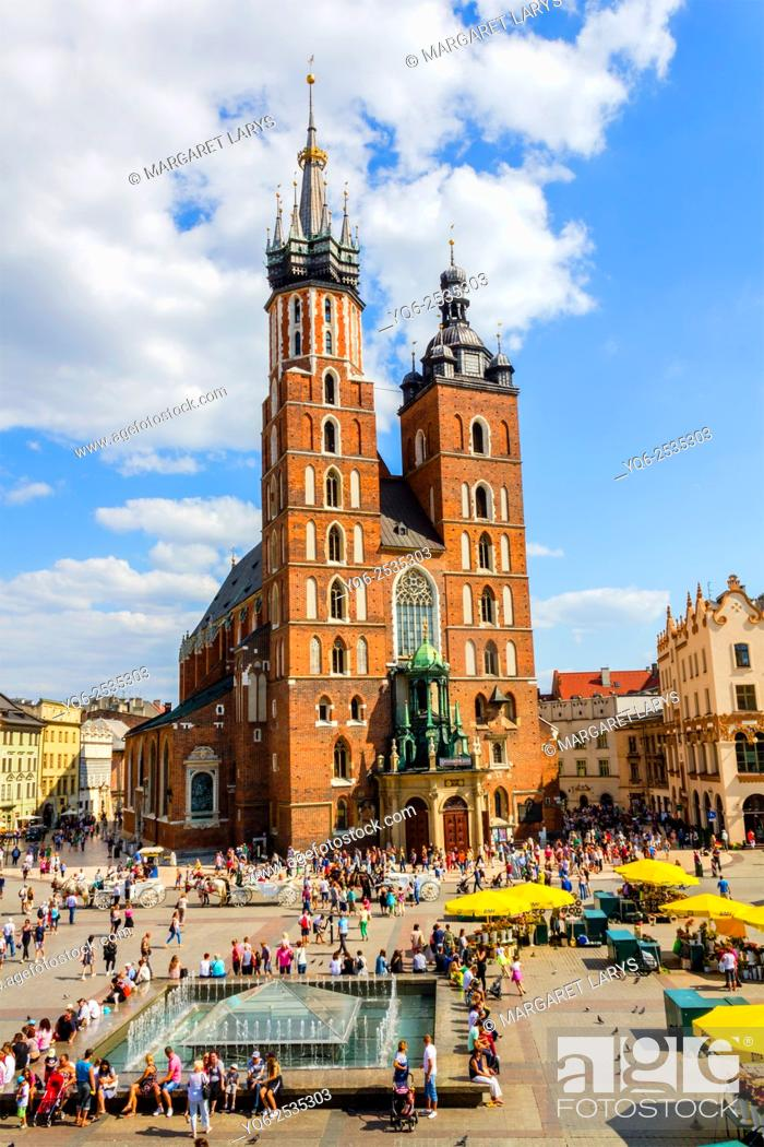 Stock Photo: Historical Mariacki church in Krakow, old historical city in Poland, Europe.