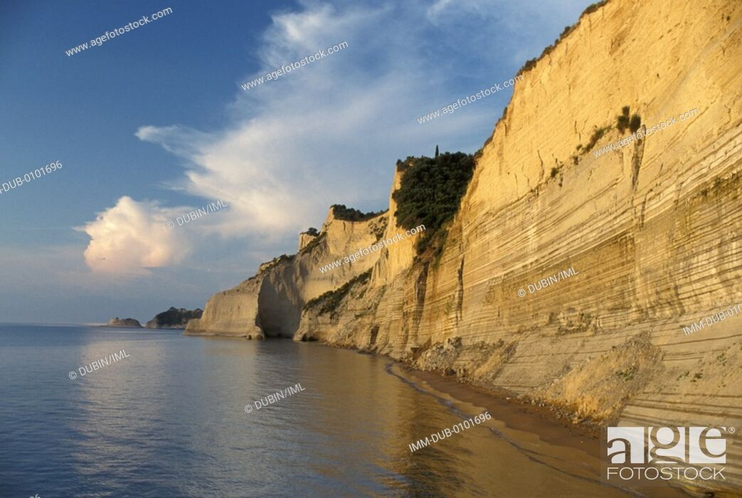 Stock Photo: Coast of the island, cliff Corfu, Ionian Islands, Greece.
