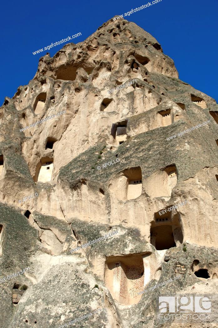 Stock Photo: Hollowed tuff rock, UNESCO World Heritage site Göreme National Park and the Rock Sites of Cappadocia, Uchisar, Turkey.