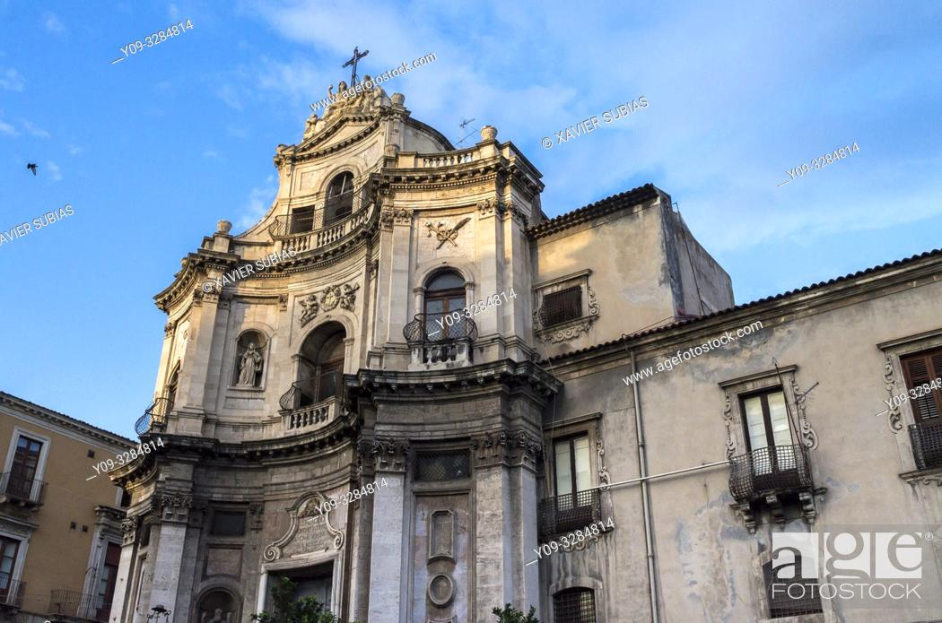Stock Photo: Church of San Placido, Catania, Sicily, Italy.
