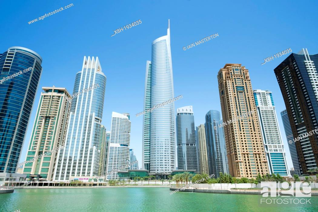 Stock Photo: View of modern high-rise apartment towers at Jumeirah Lakes Towers (JLT) at New Dubai in UAE.