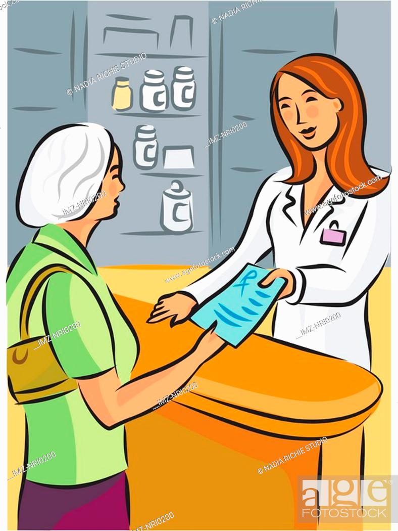 Stock Photo: A pharmacist handing over a prescription to an elderly woman.
