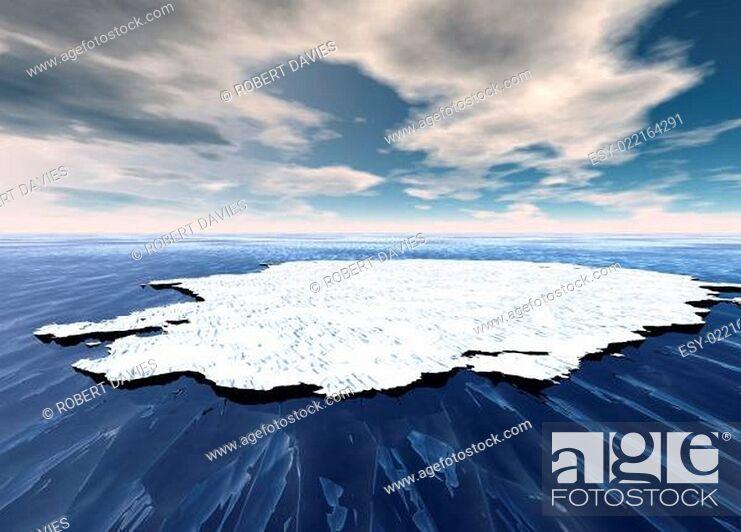 Imagen: Broken Ice Sheet Floating in Open Ocean.