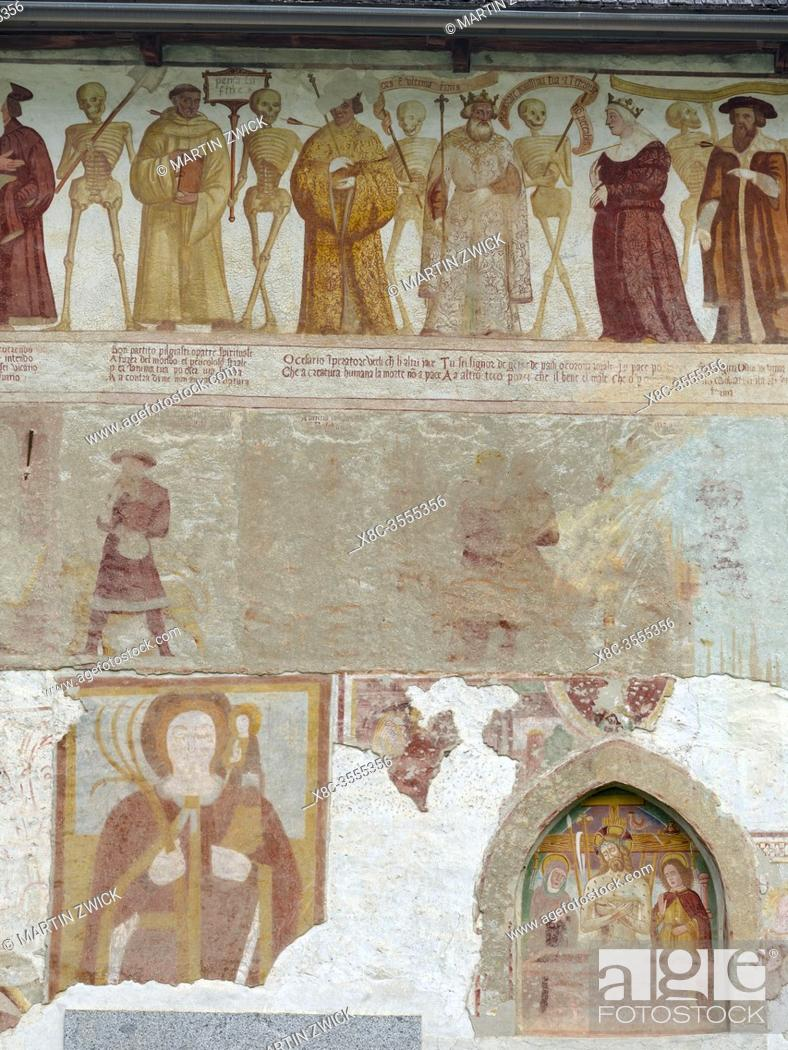 Stock Photo: Church San Vigilio and fresco Danza Macabra ( Danse Macabre or Dance of Death ) by Simone Baschenis dating back to 1539, Pinzolo, Val Rendena in Italy, Europe.