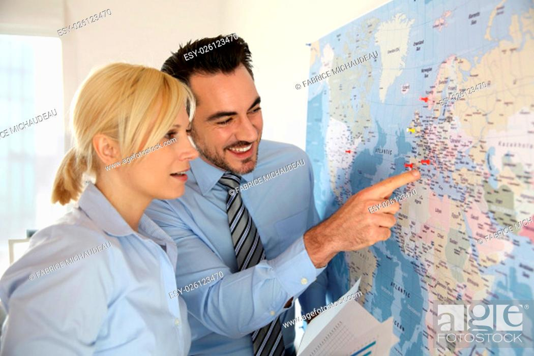 Stock Photo: International commerce partnership.