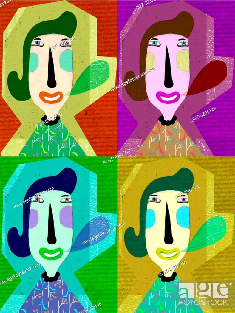 Stock Photo: Woman with speech bubble in four colorful squares.