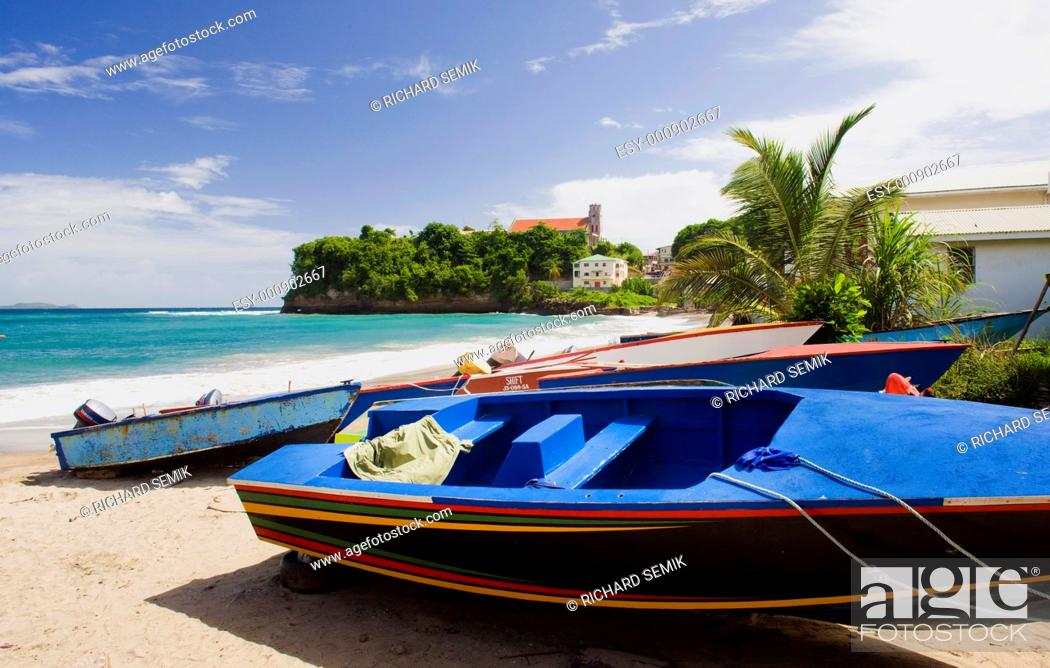 Stock Photo: fishing boats, Sauteurs Bay, Grenada.
