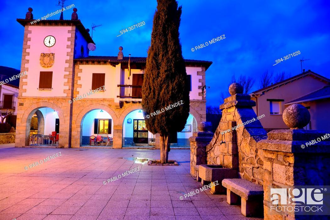 Stock Photo: Town Hall and Town Hall square of Navarredonda, Madrid, Spain.
