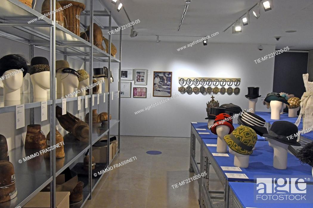 Stock Photo: A view of hats by Laboratorio Pieroni at 'Romaison 2020' exhibition featuring archives and creations from Rome's foremost costume design studios.