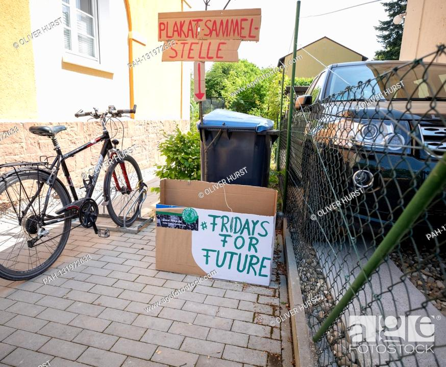 Stock Photo: A delivery station for posters in Karlsruhe / Rueppurr Fridays for Future activists design the Kronenplatz in Karlsruhe with posters that could be handed in at.