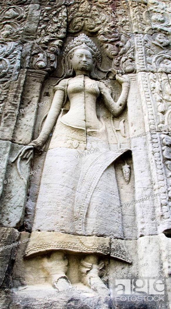 Stock Photo: Apsara sculpture in theTemple of Bantei Kdei,  built between XII century and  XIII century by king Jayavarman VII, Angkor, Cambodia.