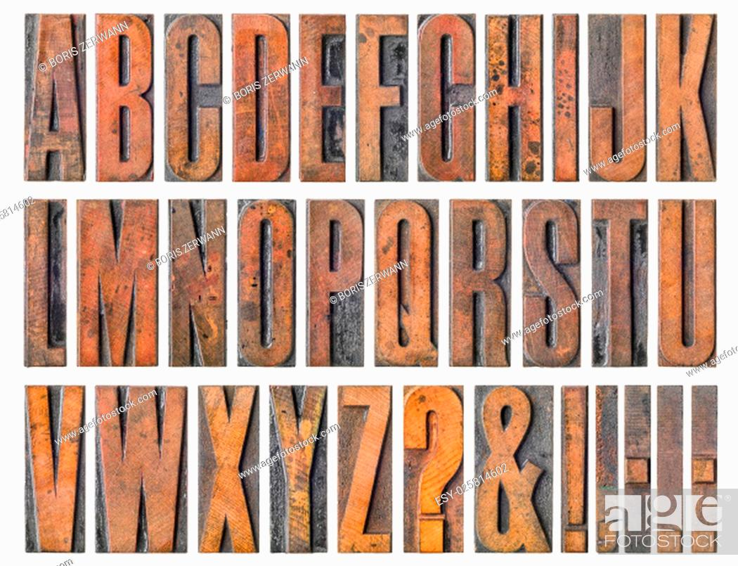Stock Photo: old wooden letters - alphabet.