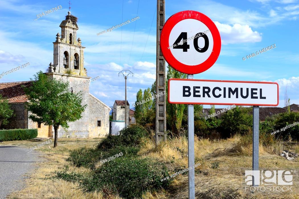 Stock Photo: Church of Santo Tomás Apostol in Bercimuel, Segovia, Spain.