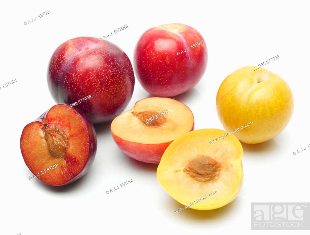 Stock Photo: Varieties of plums.