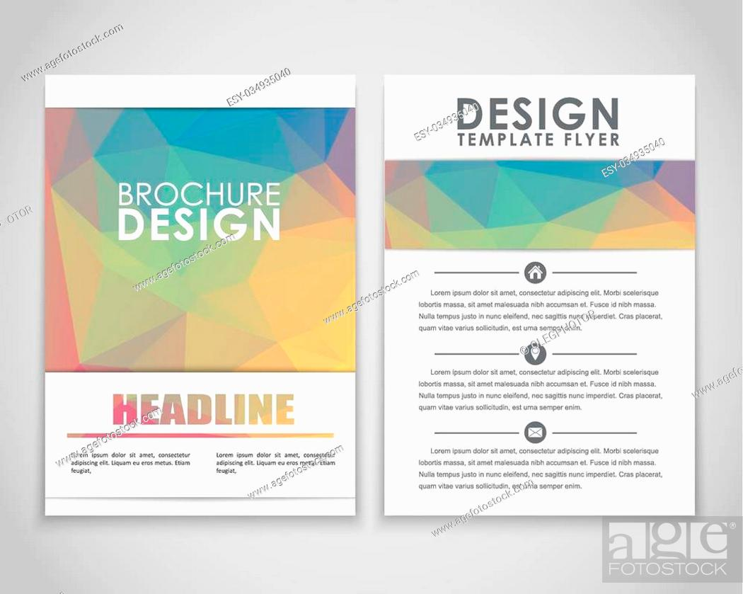 Stock Vector: Design brochures (flyers) with polygonal gold background. Vector illustration.