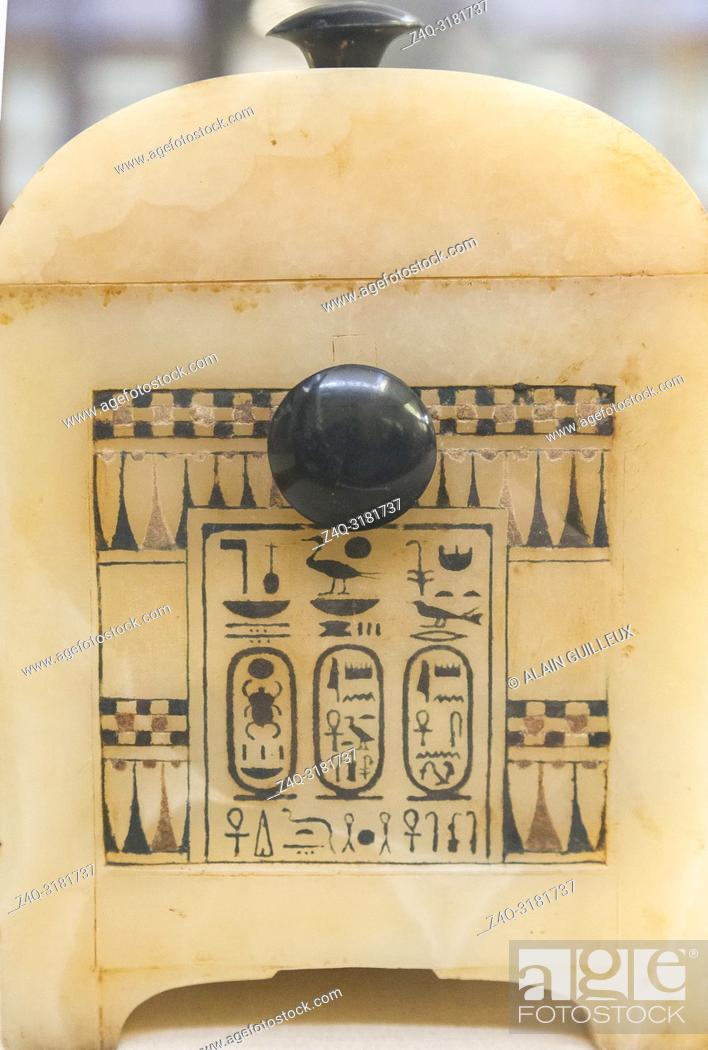 Stock Photo: Egypt, Cairo, Egyptian Museum, Tutankhamon alabaster, from his tomb in Luxor : Side of a painted box, with knobs in obsidian.
