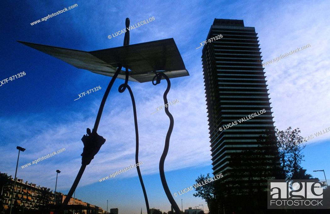 Stock Photo: Barcelona: Mapfre Tower and `David y Goliad' Sculpture by Antoni Llena.