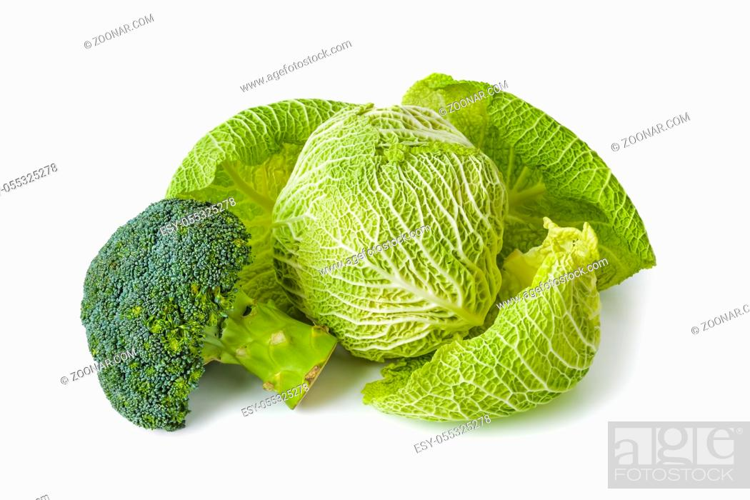 Stock Photo: Cabbage and broccoli isolated on white background.