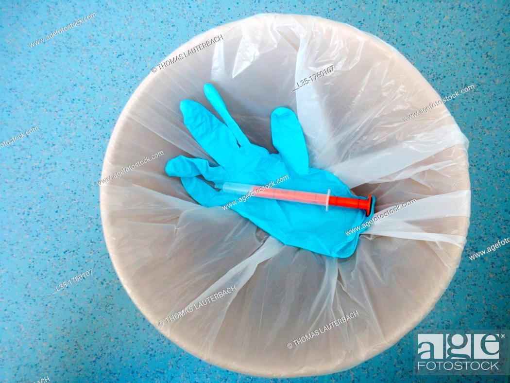 Stock Photo: Once examination gloves.