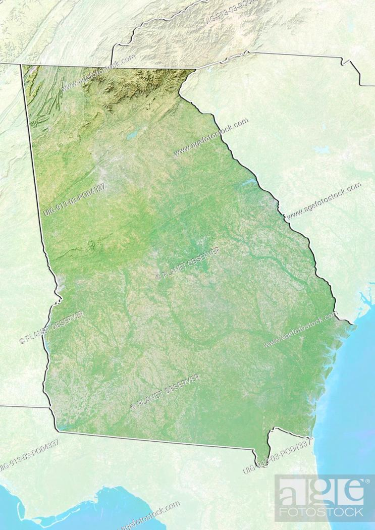 Map Of Georgia Elevation.Relief Map Of The State Of Georgia United States This Image Was
