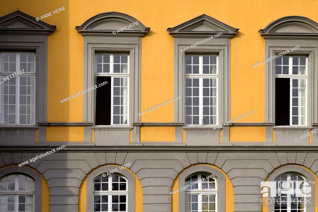 Stock Photo: simple fassade of castle with many windows.