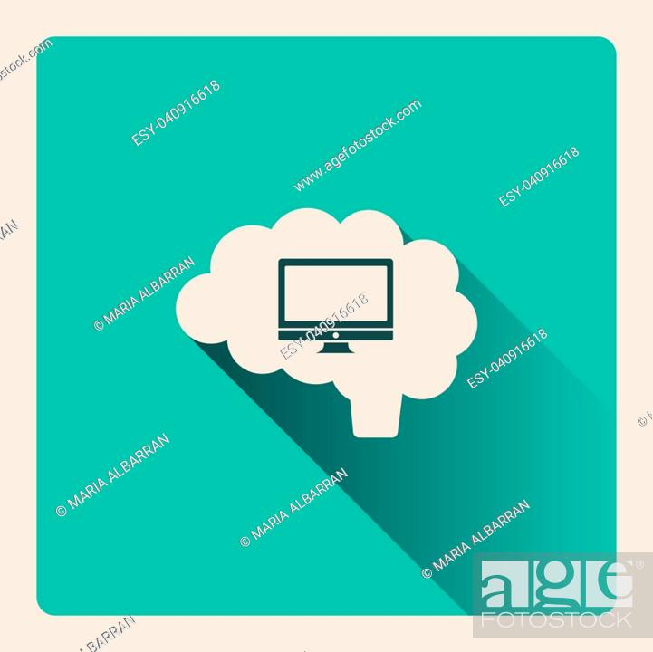 Stock Vector: Brain thinking about the computer illustration on blue square background with shade.