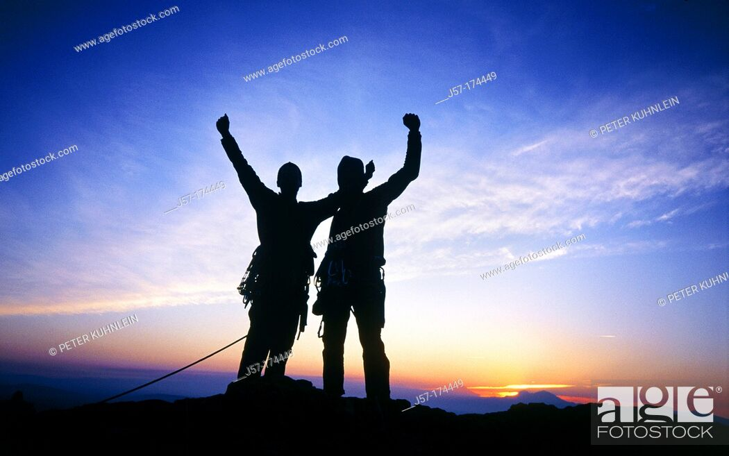 Stock Photo: Climbers celebrating the summit of Monkey Face pioneers route. Smith Rocks State Park. Oregon. USA.