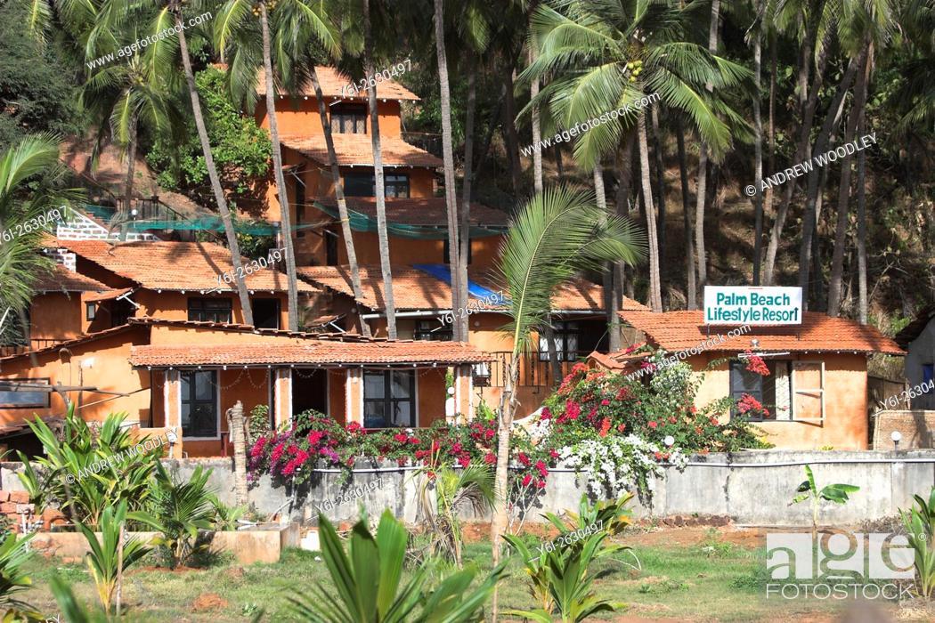 Stock Photo: Palm Beach Lifestyle Resort on quiet Agonda Beach south Goa India.