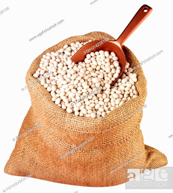 Stock Photo: Sack Of Haricot Beans Cut Out.