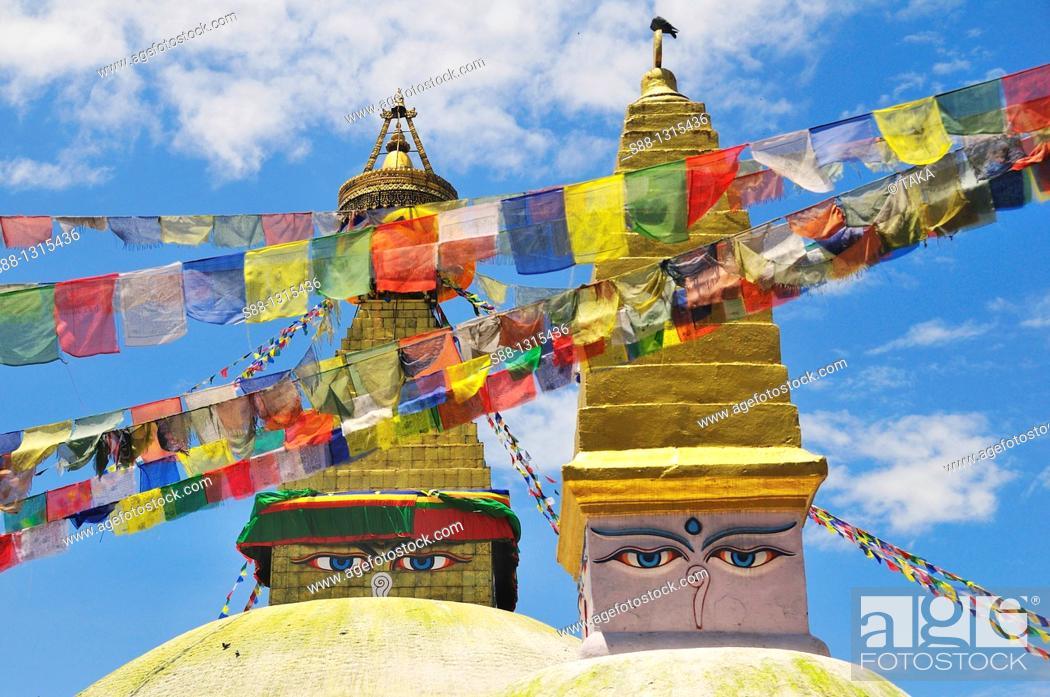 Stock Photo: Boudhanath stupa is the largest Tibetan Buddhism stupa in Nepal.