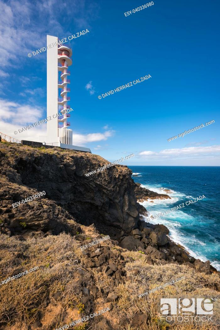 Stock Photo: Coast landscape and lighthouse in Buenavista, north tenerife island, Canary islands, Spain.