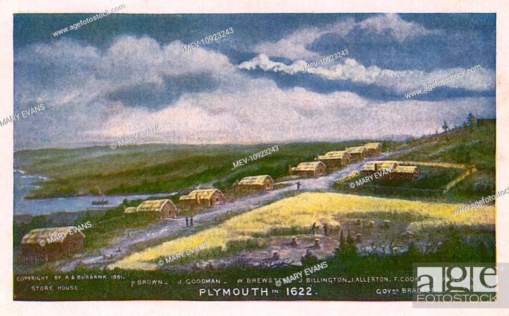 Stock Photo: Plymouth, Massachusetts, USA, as it was in 1622, with a few basic buildings. From left to right: a store house, the homes of P Brown, J Goodman, W Brewster.