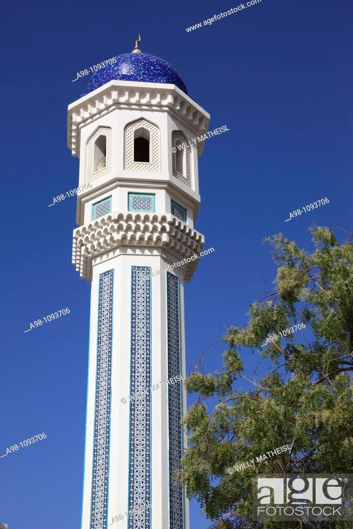 minaret tower of mosque in the district of Al-Khuwair
