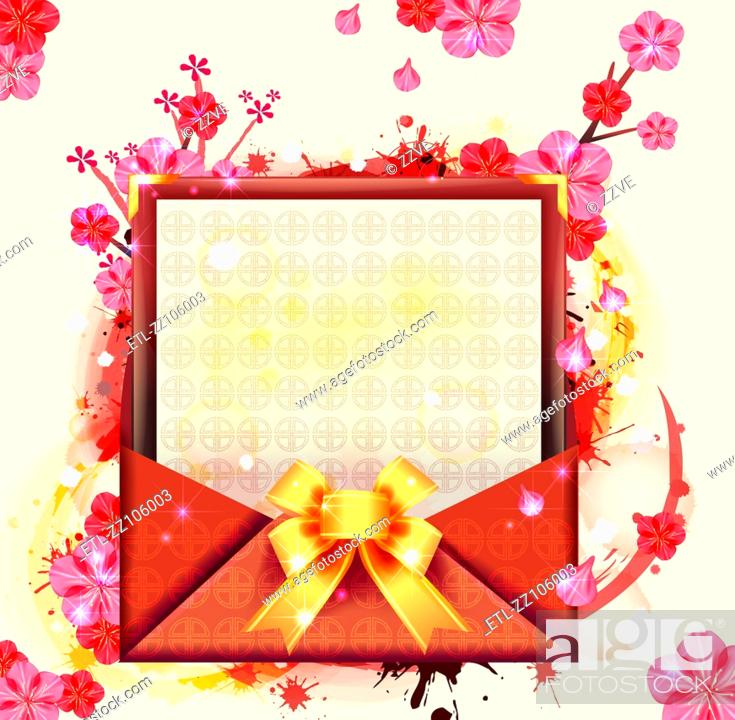 Stock Photo: Chinese card for spring festive.