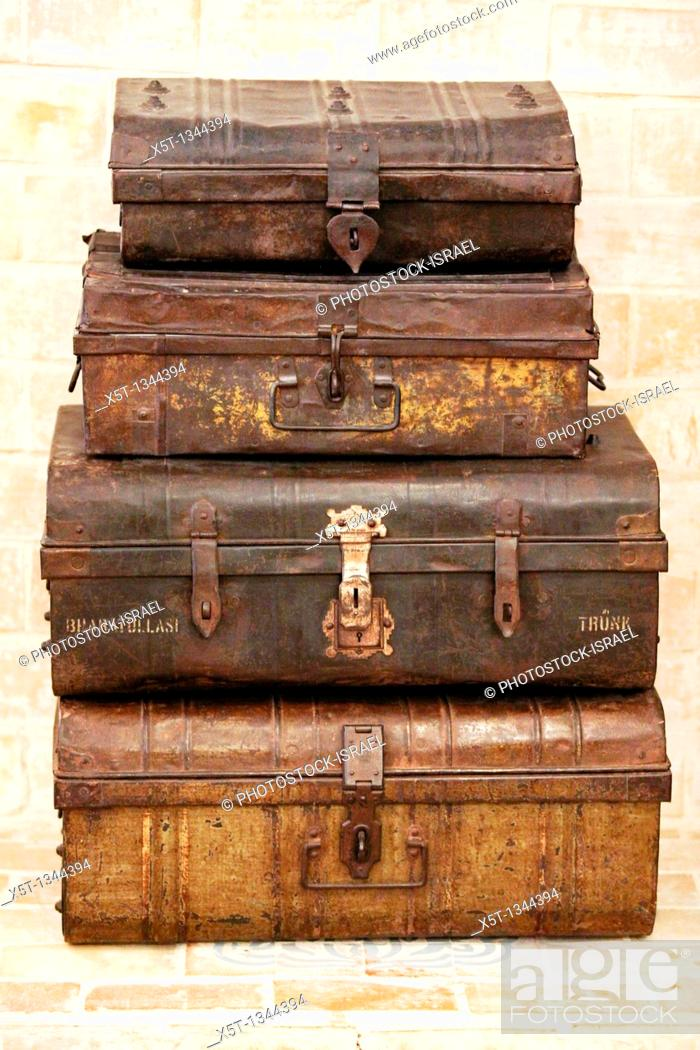 Stock Photo: Antique travelling trunks.