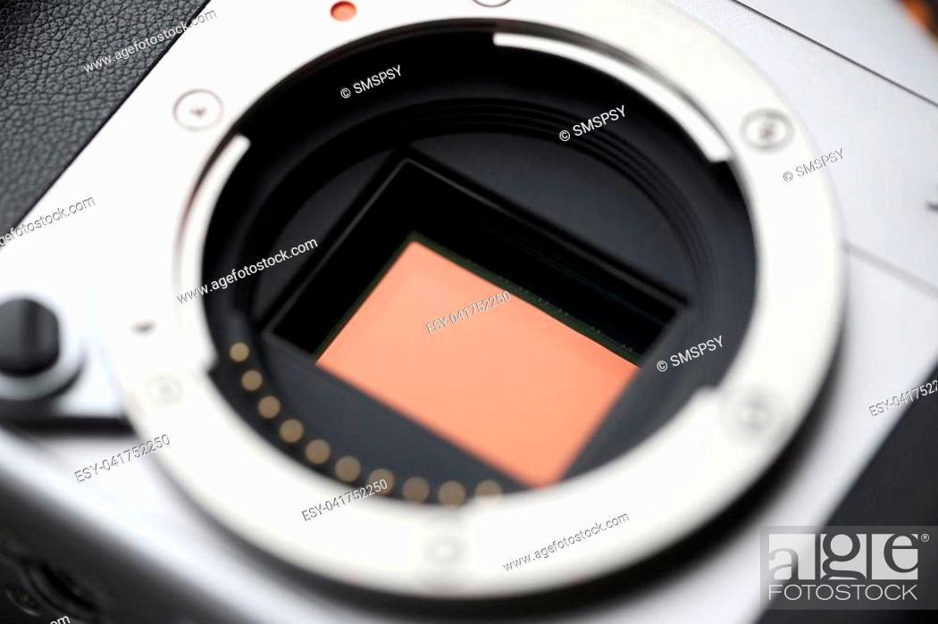 Stock Photo: Professional Digital Camera APS-C Sensor and lens mount. Macro, close-up.