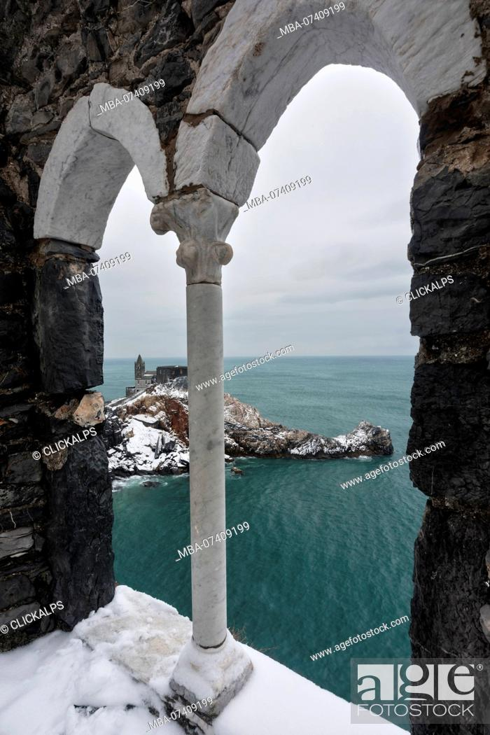 Stock Photo: snow on San Pietro Church, municipality of Portovenere, La Spezia province, Liguria, Italy, Europe.