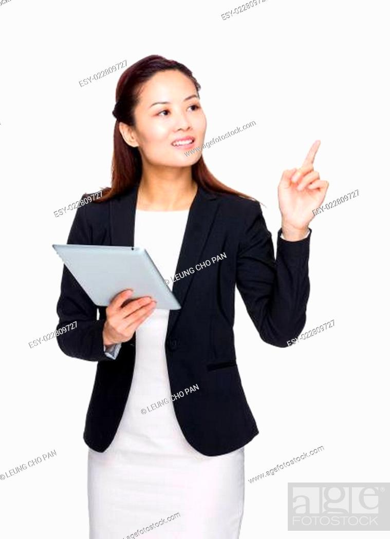 Stock Photo: Business woman hold tablet with finger up.