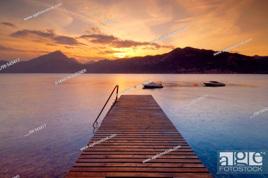 Stock Photo: Jetty (landing stage). Lake Garda, Italy, Europe.