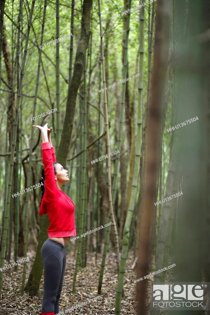 Stock Photo: Young woman stretching in forest.
