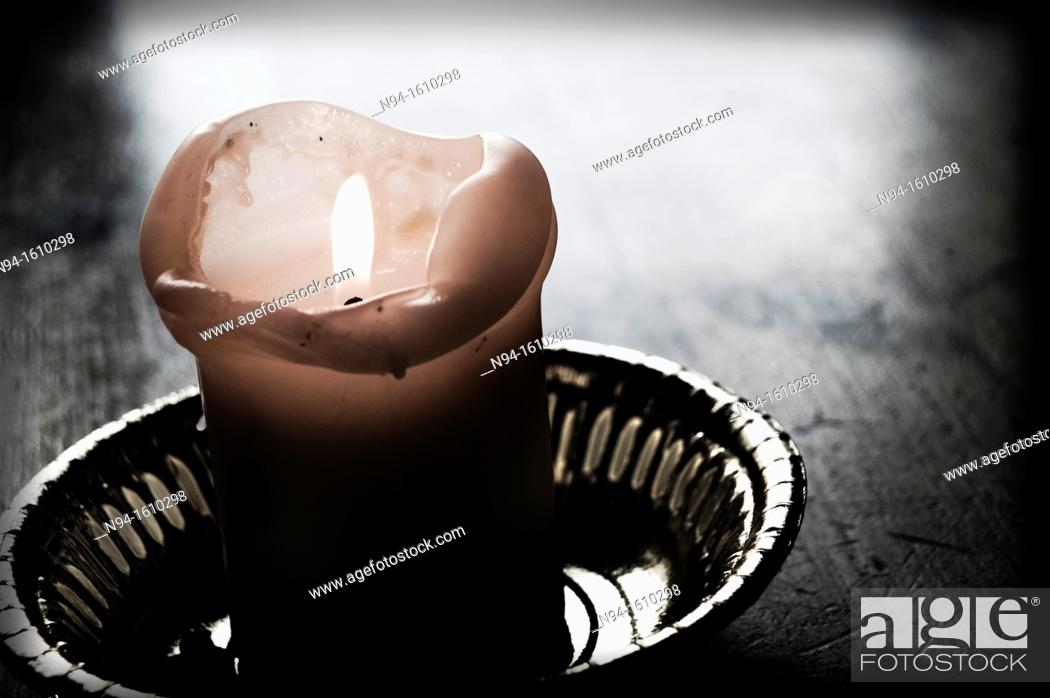 Stock Photo: Candle as an offering religious and Christian worship.