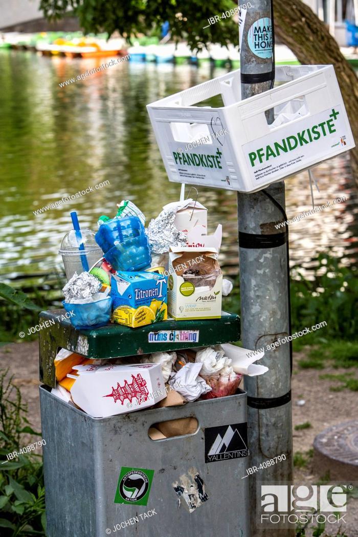 Stock Photo: Overflowing public rubbish bin, box for returnable bottles, Tübingen, Baden-Württemberg, Germany.