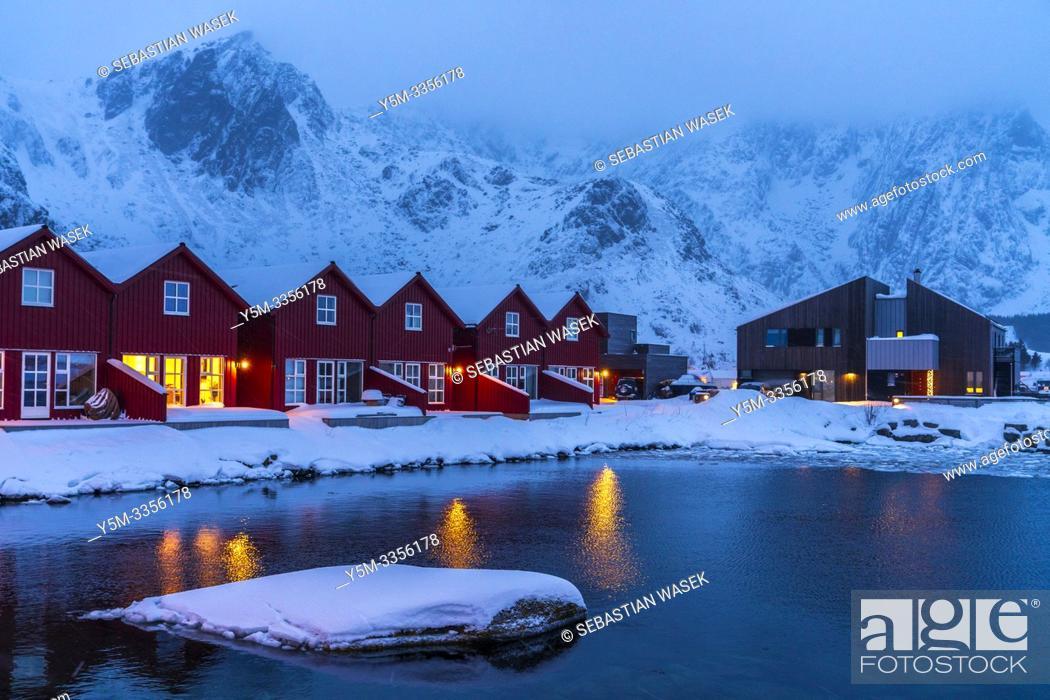 Stock Photo: Ballstad, Leknes, Lofoten, Norway, Europe.